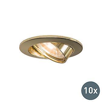 QAZQA Set of 10 recessed spotlights tiltable gold - Edu