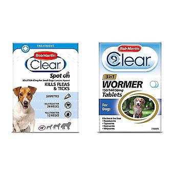 Bob Martin Clear Flea Removal and Wormer Tablets Spot On for Small Dogs