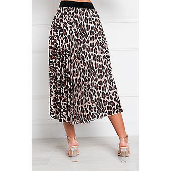 IKRUSH Womens Aria Pleated Tier Print Midi Rock