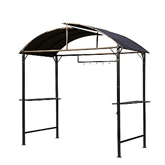Outsunny Metal Smoking Gazebo Marquee Garden Patio BBQ Tent Grill Canopy Awning Shelter - Coffee