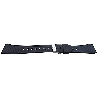 Bracelet de montre en résine noire 19mm (23mm largeur globale) boucle en acier inoxydable