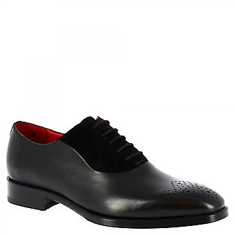 Men's handmade oxford shoes in black calf and suede leather