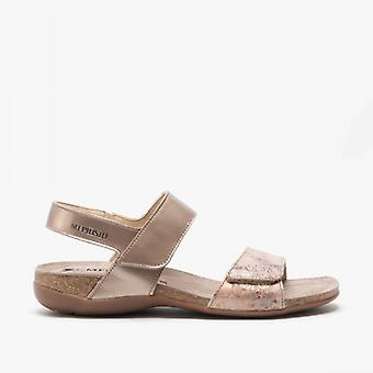 Mephisto Agave Ladies Leather Touch Fasten Sandals Taupe