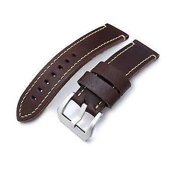 Strapcode leather watch strap 24mm miltat cashmere calf dark brown watch strap, beige hand stitching