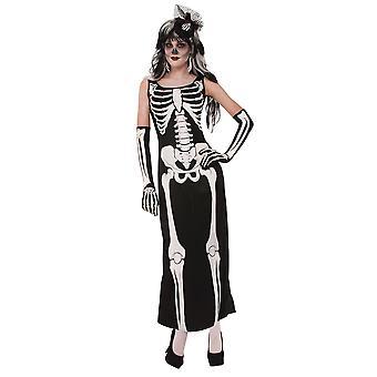 Womens Skeleton Long Dress Fancy Dress Costume (Size 10-14)
