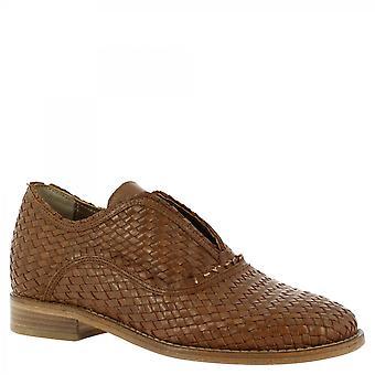 Leonardo Schuhe Frauen 's handgemachte Slip auf Loafers Schuhe in braun gewebtem Leder