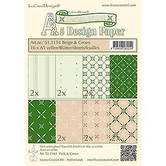 LeCrea - Design paper assortment beige/green 16xA5 16 vellen 51.1154
