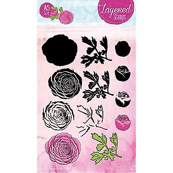 Studio Light Layered Clear Stamp Peony A5 nr 22 STAMPSL22