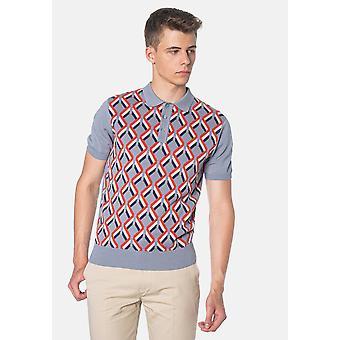 Merc JORDAN, Geometric Pattern Knitted Men's Polo Shirt