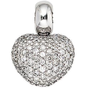 Women's Pendant Heart 585 Gold White Gold 107 Diamonds Brilliant Heart Pendant