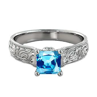 1.06 ctw Blue Topaz Ring with Diamonds 14K White Gold Filigree Cathedral Princess