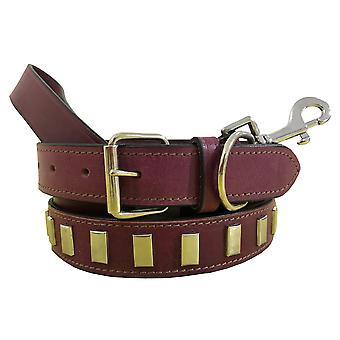 Bradley crompton genuine leather matching pair dog collar and lead set cdkupb869
