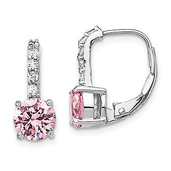 925 Sterling Silver Leverback CZ Cubic Zirconia Simulated Diamond Pink Long Drop Dangle Earrings Measures 16x7mm Wide Je