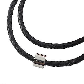 Lederkette geflochten Leder-Band Halskette mit Anhänger Damen Kette 4 mm Schwarz