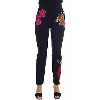 Dolce & Gabbana Siyah Yün Streç Sicilya Kristal Pantolon - BYX1874800