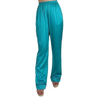 Dolce & Gabbana Aqua Mavi İpek Streç Pantolon Pijama Pantolon - BYX1874608