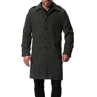 Cloudstyle Men's Overcoat Long One-Breasted Solid Trenchcoat
