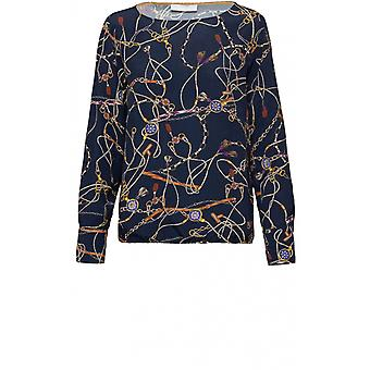Bianca Navy Chain Print Blouse