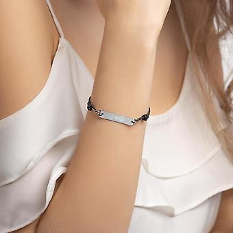 925 Srebrna bransoletka na sznurek | Miłość i pokój