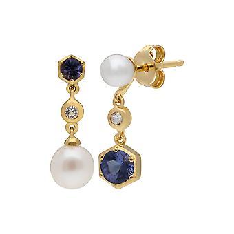 Boucles d'oreilles drop standard, tanzanite & Topaz en argent sterling plaqué or 270E030108925