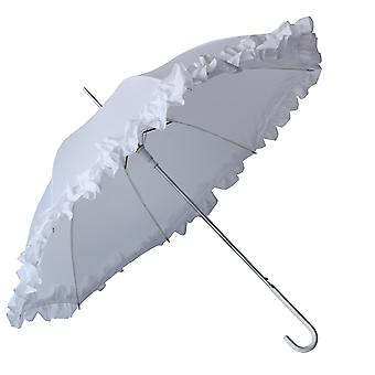 Womens/Ladies Big Frilled Plain Wedding Umbrella