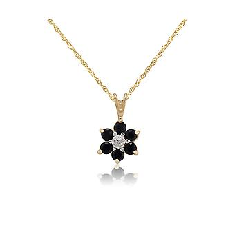 Floral Round Sapphire & Diamond Cluster Hanger ketting in 9ct Yellow Gold 10505