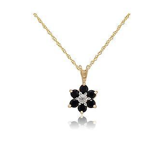 Kukka pyöreä sapphire & diamond cluster riipus kaulakoru 9ct keltainen kulta 10505