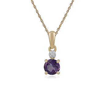 Classic Round Amethyst & Diamond Pendant Necklace in 9ct Yellow Gold 135P1641039