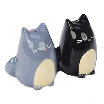 Puckator Black and Grey Cat Salt and Pepper Set