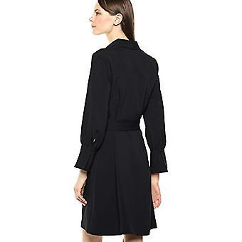 Merk - Lark & Ro Women's Lange Mouw Stropdas Taille Stretch Geweven Overhemd Jurk, Zwart 6