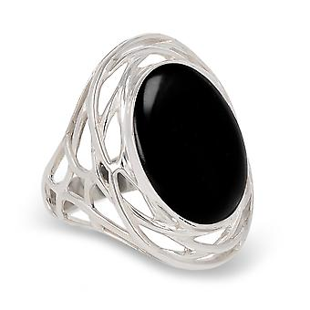 ADEN 925 Sterling Silver Onyx Oval Shape Ring (id 4392)