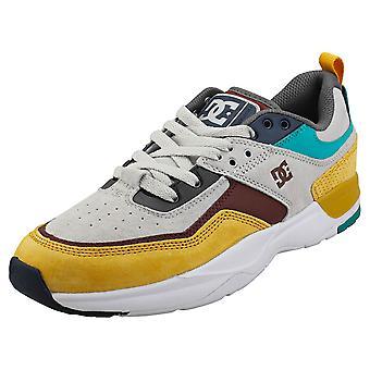 DC Shoes E.tribeka Se Mens Platform Trainers en jaune blanc gris