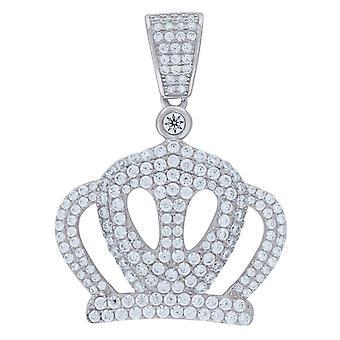 925 Sterling Ezüst Férfi CZ Cubic Cirkónia szimulált Diamond Crown Charm Medál Nyaklánc intézkedések 36.3x27.2mm Széles Jewe
