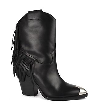 Ash EMOTION Fringed Boots Black Leather