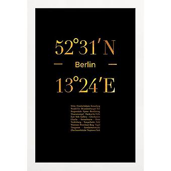 JUNIQE Print - Gold Berlin Icons - Berliinin juliste Gold & Black