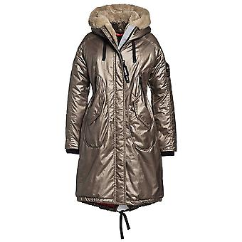 Creenstone Metallic Long Parka Style Coat With Faux Fur Hood