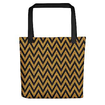 Small Tote Bag | Gold Zig Zag