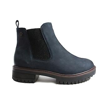 Caprice 25473 Ocean Navy Nubuck Leather Womens Chelsea Boots