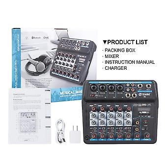Drembo 4/6channel Protable- Digital Audio Mixer Console With Sound Card Bluetooth Usb 48v Phantom Power For Dj Pc Recording