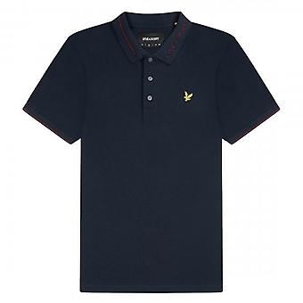 Lyle & Scott Branded Ringer Collar Pique Polo Navy SP1357V
