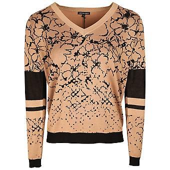 Leo & Ugo Black & Beige V Neck Floral Print Knitted Jumper