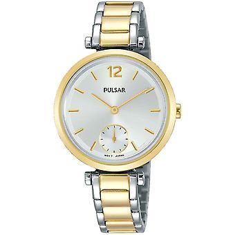 Pulsar señoras pulsera de dos tonos esfera plateada con reloj sub dial 50m (PN4064X1)
