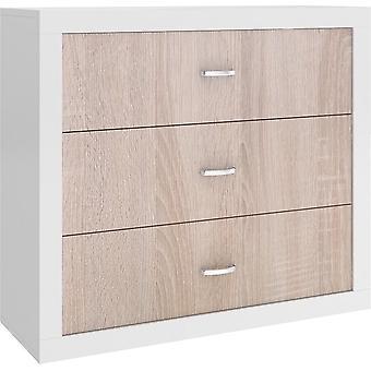 Kommode 100x89x40 cm - weiß/kiefer - 3 Schubladen