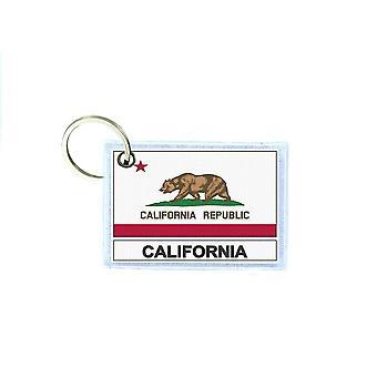 Porte cles cle clefs imprime double face drapeau usa californie