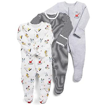 3pcs/lot Baby Rompers- Infant Newborn Long Sleeve Sleepsuit Romper, Cartoon