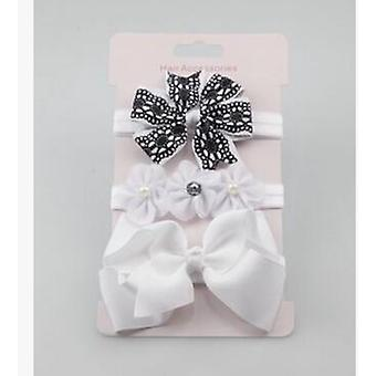 Elastic Flower And Bowknot Design Headband Set For Newborn Babies