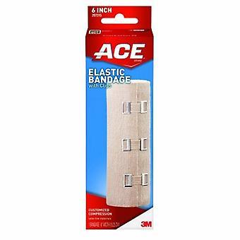 3M Elastic Bandage ACE 6 Inch X 4-1/2 Foot Standard Compression Clip Detached Closure Tan NonSterile, 36 Each