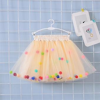 Multilayer Skirt Colorful, Pom Princess Mini Dress For Set-2
