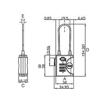 Yale Schlösser YTP3 TSA Soft Shackle Vorhängeschloss 32mm YALYTP332