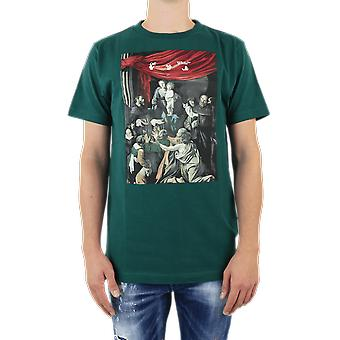 OFF WHITE Caravag Painting S/S Slim Tee Green OMAA027E20JER0085710 Top